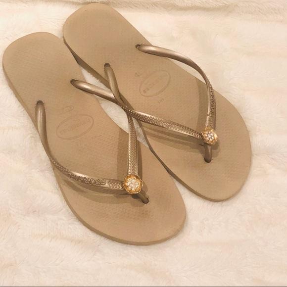 a52e5db9a2f85d Havaianas Shoes - Havaianas Gold Flip Flops